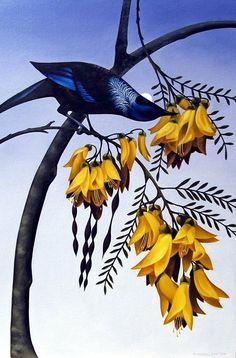 by Miranda Woollett New Zealand Tattoo, New Zealand Art, Art Maori, Tui Bird, Art Paintings For Sale, Bird Paintings, Nz Art, Wave Art, Iron Art