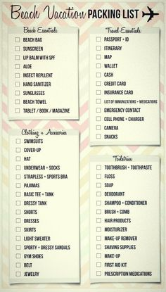Here& a pretty handy little beach vacation packing list to ensure Vacation Packing Checklist, Beach Vacation Packing List, Road Trip Packing, Packing List For Travel, What To Pack For Vacation, Beach Holiday Packing List, Honeymoon Trip, Packing Hacks, Holiday List