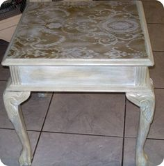 Shabby Chic Lace Stenciled Side Table by floridabeachchic on Etsy