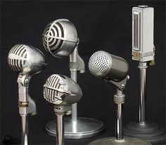 Antique Collectible Microphones: Shure 705A, Astatic JT-30, Shure 730B, Neat TM-3, Universal 5MM Velocity