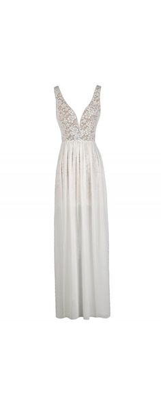 Maximum Impact Lace and Chiffon Designer Dress in Ivory  www.lilyboutique.com
