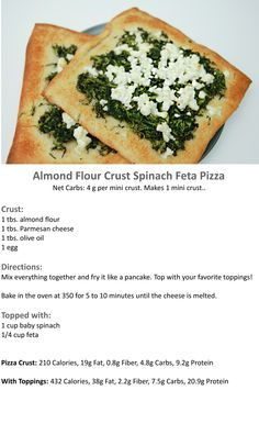 Almond-Flour-Crust-Spinach-Feta-Pizza- sub almond flour for baking blend Ketogenic Recipes, Low Carb Recipes, Vegetarian Recipes, Healthy Recipes, Greek Recipes, Scd Recipes, Banting Recipes, Wheat Free Recipes, Meal Recipes