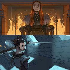 Sansa & Arya Stark, Game of Thrones, Kelsey Eng Dessin Game Of Thrones, Got Game Of Thrones, Arya Stark, Fanart, Live Action, Character Art, Character Design, Game Of Thones, Sansa
