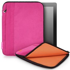 CaseCrown Faux Suede Zip Sleeve Case (Fuchsia) compatible with the new iPad / iPad 2 / iPad 3  other tablets