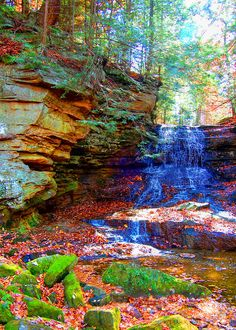 Autumn Leaves - Waterfall Print - Scenic Photography - Home Decor - Fall Decor - Harvest Decor - Nature Art - Scenic Home Decor - Waterfall