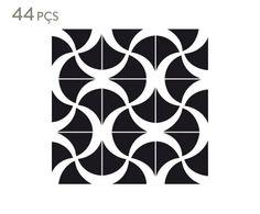 Jogo de Azulejos Ondas B&P - 15,4X15,4cm