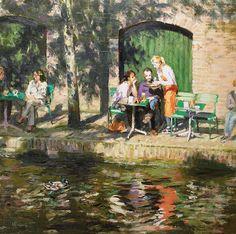 Aan de gracht   oil on panel painting by Richard van Mensvoort