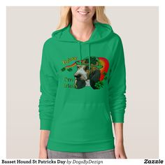 Basset Hound St Patricks Day Hoodie - Fashionable Women's Hoodies and Sweatshirts By Creative Talented Graphic Designers - #hoodie #sweatshirt #fashion #design #fashiondesign #designer #fashiondesigner #style