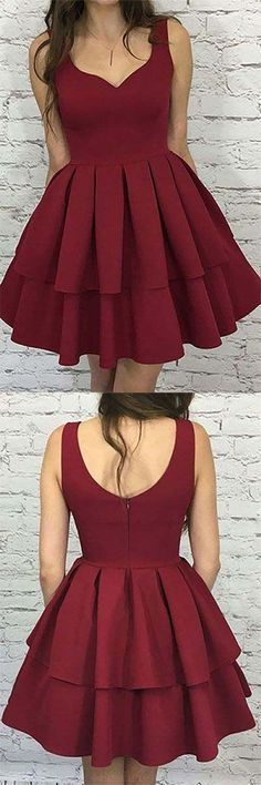 A Line Burgundy Homecoming Dresses,Sweetheart Knee Length Graduation Dresses,Cute Sleeveless Short Prom Dress #burgundy #homecomingdress #graduationdress #cute #mini #elegant #simple #cheap