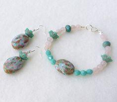 Parure Bijoux Femme, Fête des Mères, Boucles d'Oreille Perles, Bracelet Perles, Turquoise Rose : Parure par bleuluciole