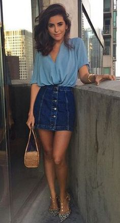 56 new Ideas sewing clothes women summer fashion styles Denim Skirt Outfits, Casual Outfits, Denim Skirt Outfit Summer, Denim Skirt Winter, Casual Date Night Outfit Summer, Casual Shirts, Casual Chic Summer, Summer Denim, Date Outfit Casual