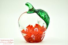 Vintage St Clair Art Glass Maude and Bob Floral Apple Paperweight
