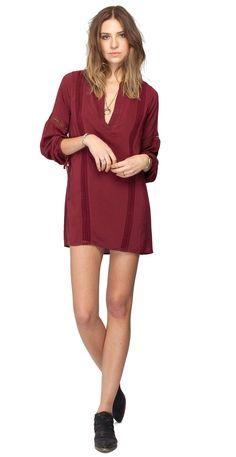 Gentle Fawn Presley Long Sleeve Mini Dress   Auburn