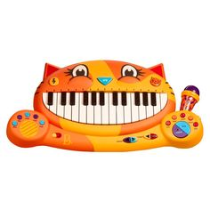 Encourage a budding musician with the B. Meowsic Keyboard, packed with fun ways to add music to early learning. This mini-piano features a microphone for sing-along fun and a recording option for playing back music. In addition to piano sou Toy Musical Instruments, Musical Toys, Toddler Toys, Kids Toys, Toddler Stuff, Baby Toys, Kid Stuff, Toddler Proofing, Interactive Toys