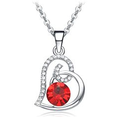 Valentines Day Gifts NEEMODA 18K White Gold Plated Heart Pendant Necklace for Women Ruby Red Crystal Fashion Jewelry Birthday Gifts for Her  NEEMODA aims to provide to our customers the best items and services with the lowest prices. We are committed to providing customers with the best shopping experience and 100% customer satisfaction. If you have any questions about our products and services you can contact us, we will answer your questions as soon as possible and solve your probl..