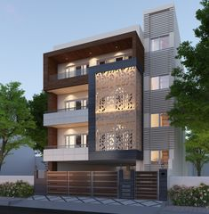 Home Facade concept developed by our Architects for one of our projects in South City-1, Gurgaon. The project is on a 240 sq. yards plot and has a Stilt + 3 Floors. Modern Home Design, Modern Exterior House Designs, Exterior Design, Architecture Building Design, Home Building Design, Facade Design, 3 Storey House Design, Bungalow House Design, House Outside Design