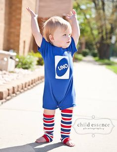 UNO Birthday Romper Blue and White Perfect First Birthday Romper for boys and girls