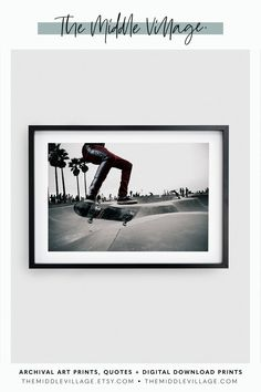 Venice Skatepark print DOWNLOADABLE prints skateboarder PRINTABLE Wall art for teen boy room teenager. Sports action on the streets of Los Angeles California by 'The Middle Village'. View our range of curated Fine Art Prints for your home decor.