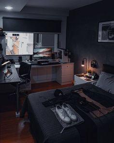Bedroom Workspace, Bedroom Setup, Room Design Bedroom, Room Ideas Bedroom, Modern Bedroom, Gamer Bedroom, Home Office Setup, Home Office Design, Home Interior Design