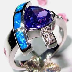 Sz 8 Blue Fire Opal Dark Purple Gemstone Silver Ring