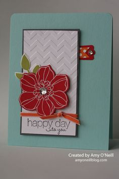 Happy Day Flower-Supplies Used: Stamps: Secret Garden, Friendly Phrases Ink… Cute Cards, Diy Cards, Your Cards, Pretty Cards, Scrapbooking, Scrapbook Cards, Mini Albums, Thing 1, Copics