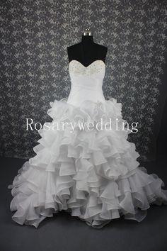 Sweetheart organza multi layers ball wedding dress