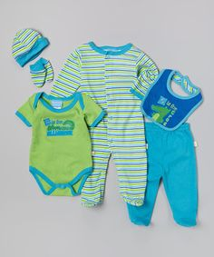 This Duck Duck Goose Green & Blue Crocodile Six-Piece Layette Set - Infant by Duck Duck Goose is perfect! #zulilyfinds