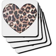 """Heart Leopard Print Animal Prints Fashion - Set Of 8 Coasters - Soft by 3dRose LLC. $14.99. Made of recycled rubber. Comes in a set of 8 - same image on all coasters. Dimensions: 3 1/2"""" H x 3 1/2"""" W x 1/4"""" D. Absorbs moisture. Washable - to prevent image from fading clean with mild detergent using cool water. Heart Leopard Print Animal Prints Fashion Coaster is a great complement to any home décor. Soft coasters are 3.5"""" x 3.5"""", are absorbent and can be washed. Ceramic..."""