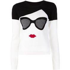 Alice+Olivia intarsia face sweater ($515) ❤ liked on Polyvore featuring tops, sweaters, black, black wool sweater, black top, multi color sweater, alice + olivia and intarsia sweater