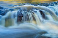 Nature Photography Blue Yellow Waterfall by SoulCenteredPhotoart