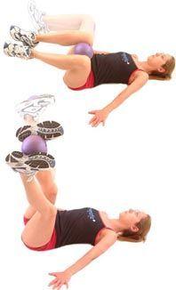 Abdominal Hip Flexor  pic A.  ball between knees is a sep exercise than pic B. #HipFlexorsExercises