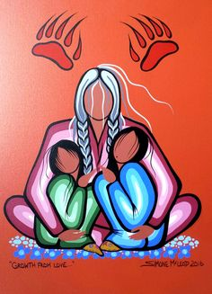 Grow from love by Simone McLeod kp Native American Paintings, Native American Pictures, Native American Artists, Native American Drawing, Indian Paintings, Abstract Paintings, Art Paintings, Native Drawings, Art Drawings