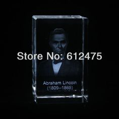 crystal 3D laser image Lincoln souvenirs gift/crystal gift for president of united states/paperweight,photo frame $30.25