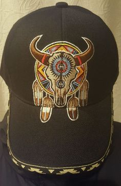5cfca14bab6 Baseball Hat Cap Buffalo Skull   Feathers Embroidered Black NWT  10   Buffalo  BaseballCap