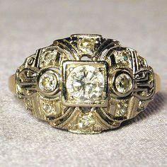 Divine Art Deco 14K Two-Tone Gold & Diamond Ring