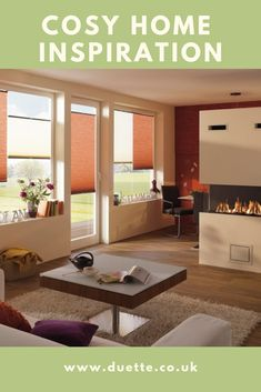 Cosy home inspiration. Autumn cosy homes. Top-down, bottom-up blinds for light and privacy control. Winter homes. Autumn Cosy, Winter Homes, Living Room Blinds, Energy Efficient Windows, Window Dressings, Blinds For Windows, Save Energy, Terracotta