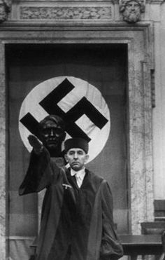 Roland Freisler, President of Nazi Germany's 'Peoples Court' which conducted kangaroo trials of anyone who dared resist the Hitler regime. He was killed in 1945 when his court was hit by American bombing.