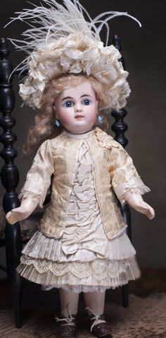"Antique French Silk Dress for Tiny Bebe about 12"" Antique dolls at Respectfulbear.com"