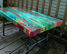 custom coffee table table top only colorful patina ebonized