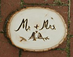 Natural Wood Mr and Mrs Wedding Wood Burned Sign by GypsySlowDown