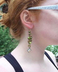 Green Beaded Dangle Earrings with Pressed Flower Beads by BugTaxi, $24.99