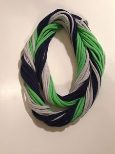 Seattle Seahawks Loopy Infinity Scarf - Upcycled from Recycle Tshirts - Blue Green Gray Football Jersey Necklace on Etsy, $15.00