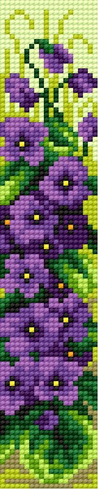 Book-mark in violet pattern 2 (flowers)