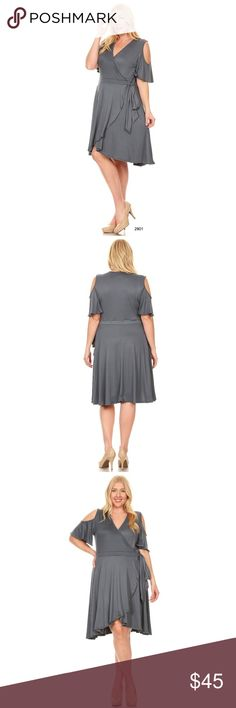Plus Gray Faux Wrap Cold Shoulder A Line Dress This gorgeous flirty piece has soft cascading flounces along the skirt's front panels & bottom hem.  This faux wrap dress is a perfect silhouette for all curvy body types.  The v neck design is a perfect accent for the neckline while maintaining your chic & curvy style. Made of 96% Polyester 4% Spandex Available in plum, wine, & black in my closet short sleeve dresses, plus size, cut out, party, summer, wrap, wedding, faux, curvy, sheath, midi…