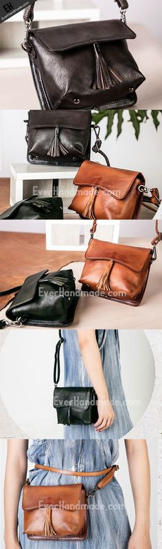 Handmade vintage purse leather crossbody bag purse shoulder bag for