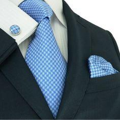 Solid Blue and Light Blue Silk Necktie Set JPM11A
