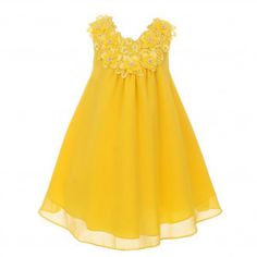 ce8820a87bcf3 Good Girl Big Girls Yellow 3D Flowers Loose Special Occasion Dress 8-14  Junior Bridesmaid