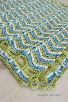::Rolling Ridge Blanket Crochet Pattern:: Felted Button
