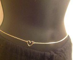 Sexy Gold tone Belly Chain With Heart Women , Gypsy , Boho, Body Chains Jewelry - Beach bikini jewelry or accessorize anything  (32 inch
