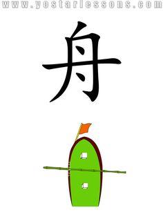 舟 = boat. Imagine a small boat with flag in the front. Detailed Chinese Lessons @ www.yostarlessons.com